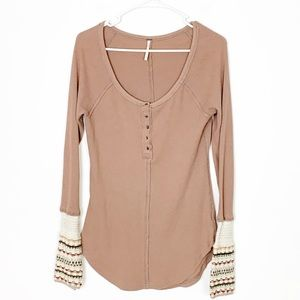 Free People Thermal Henley Size Medium !
